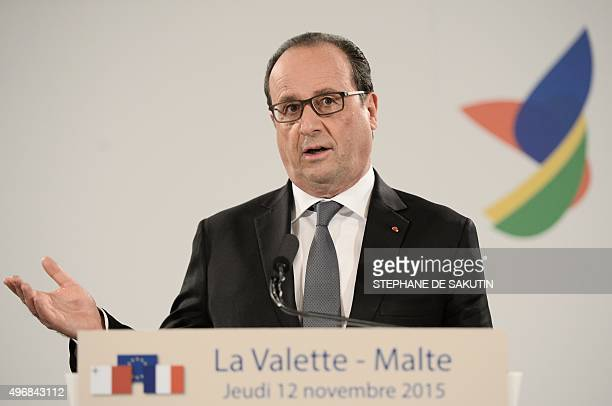 French President Francois Hollande gives a press conference after an Informal European Council meeting following the European Union - Africa Summit...