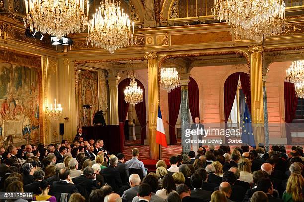 French President Francois Hollande gives a press conference to defend his record after six months in office at the Elysee Palace in Paris