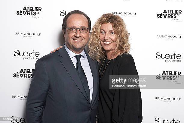 French President Francois Hollande here with Photographer Stephanie Murat visits 55 Politiques Exhibition of Stephanie Murat's Pictures at Galerie...