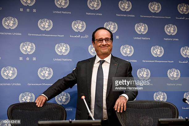 French President Francois Hollande holds a press conference after addressing the United Nations General Assembly on September 28 2015 in New York...