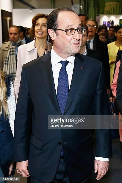 French President Francois Hollande inaugurates the 'Art Paris Art Fair 2016' at Grand Palais on March 30 2016 in Paris France