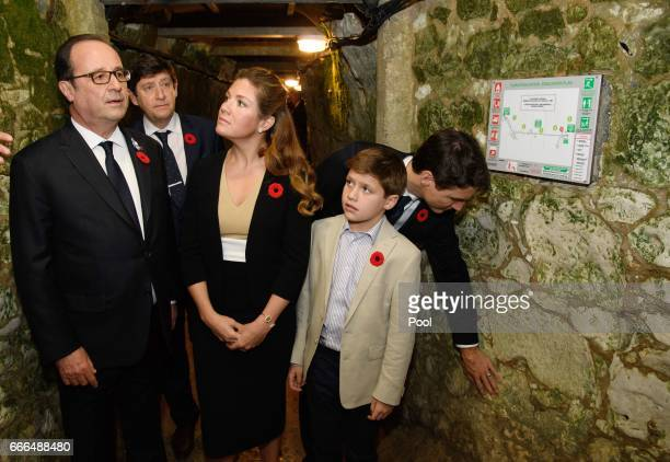 French President Francois Hollande joins Canadian Prime Minister Justin Trudeau and his wife Sophie Gregoire Trudeau and son Xavier as they visit the...