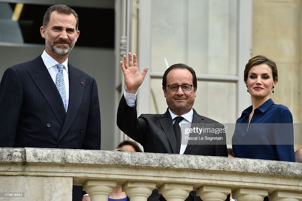 French President Francois Hollande, King Felipe of Spain and Queen Letizia of Spain arrive to attend the Velasquez painting exhibition at the Grand Palais on June 2, 2015 in Paris, France.