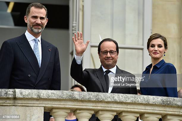 French President Francois Hollande King Felipe of Spain and Queen Letizia of Spain arrive to attend the Velasquez painting exhibition at the Grand...
