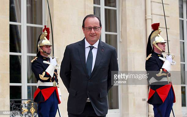 French President Francois Hollande looks on after his meeting with Hwang Kyo-Ahn, Korea's Prime Minister at the Elysee Presidential Palace on...
