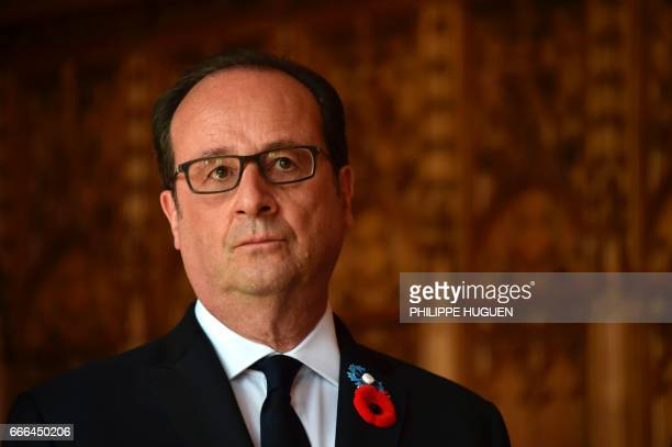 French President Francois Hollande looks on at the city hall of Arras on April 9 as part of a ceremony to commemorate the 100th anniversary of the...