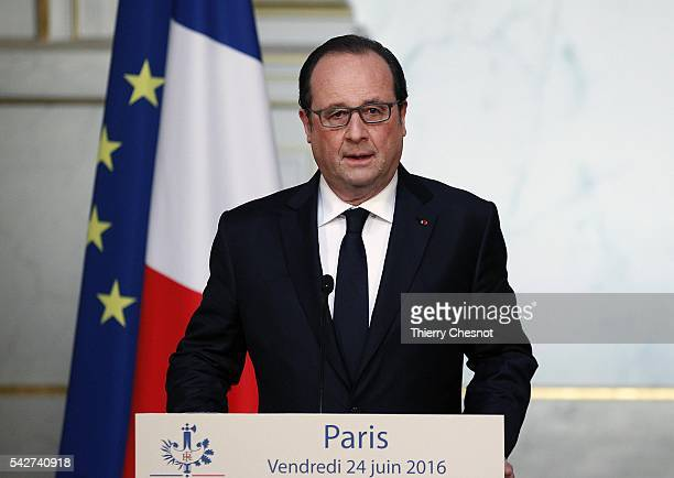 French President Francois Hollande makes a statement following the results of the United Kingdom's EU referendum at the Elysee Presidential palace on...