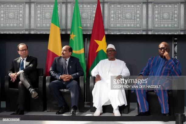 French President Francois Hollande Mauritanian President Mohamed Ould Abdel Aziz Mali's President Ibrahim Boubacar Keita and Burkina Faso's President...