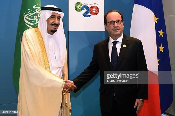 French President Francois Hollande meets with Crown Prince of Saudi Arabia Salman bin Abdulaziz Al Saud as part of the G20 Summit in Brisbane on...