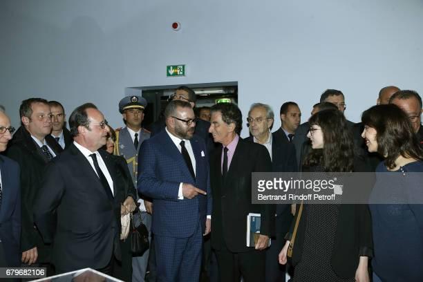 French President Francois Hollande Morocco's King Mohammed VI and President of Institut du Monde Arabe Jack Lang visit 'Tresor de l'Islam en Afrique'...