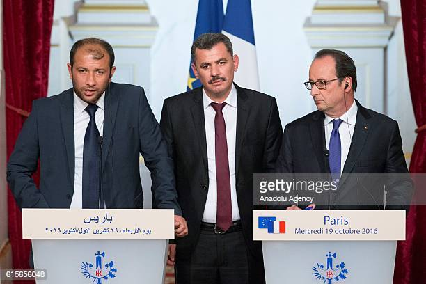 French President Francois Hollande President of the civil committee of Aleppo Hagi Hasan Brita and Syria's White Helmets leader Raed Saleh attend a...
