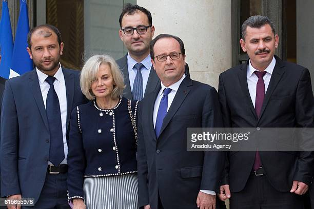 French President Francois Hollande President of the Foreign Affairs at the French assembly Elisabeth Guigou leader of Syria's White Helmets Raed...