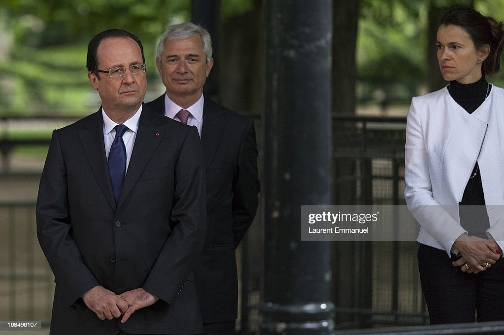 French President Francois Hollande, President of the French National Assembly Claude Bartolone and French Culture Minister Aurelie Filipetti attend a ceremony marking the abolition of slavery in the Jardins du Luxembourg on May 10, 2013 in Paris, France. Taubira Law was passed in May 2001 acknowledging slavery and the Atlantic slave trade as crimes against humanity.