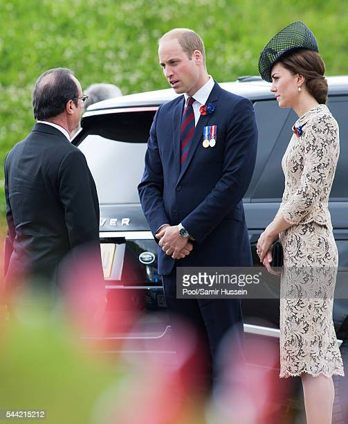 French President Francois Hollande Prince William Duke of Cambridge and Catherine Duchess of Cambridge attend the commemoration of the Battle of the...