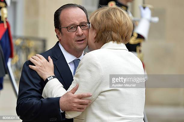 French President Francois Hollande receives German Chancellor Angela Merkel at Elysee Palace on September 15 2016 in Paris France The two leaders are...