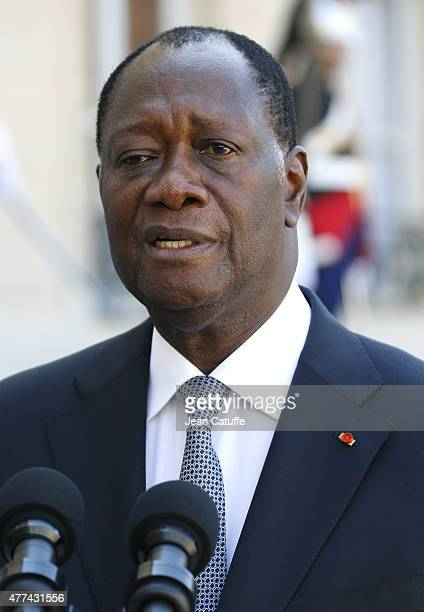 French President Francois Hollande receives Ivory Coast President Alassane Ouattara at Elysee Palace on June 16 2015 in Paris France