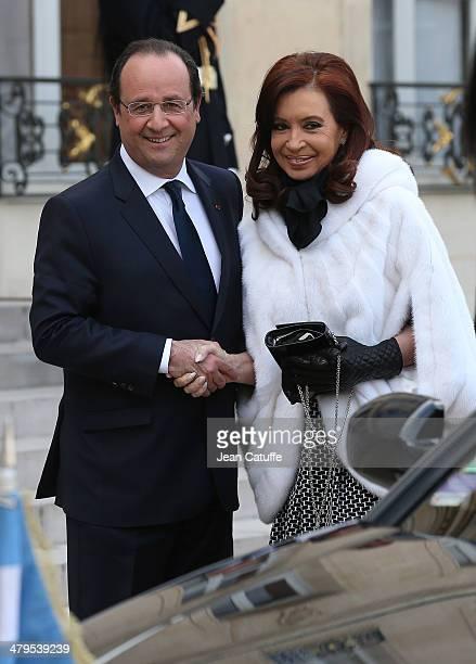 French President Francois Hollande receives President of Argentina Cristina Fernandez de Kirchner at Elysee Palace on March 19 2014 in Paris France...