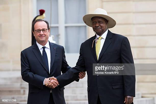 French President Francois Hollande receives President of the Republic of Uganda Yoweri Kaguta Museveni for a meeting at the Elysee Palace on...