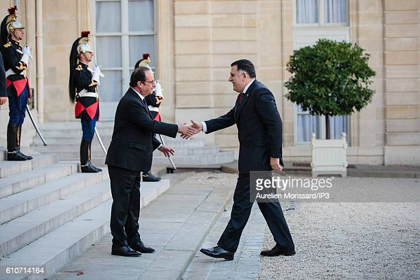 French President Francois Hollande receives Prime Minister of Libya Fayez El Sarraj ahead of a meeting and joint press conference at the Elysee...