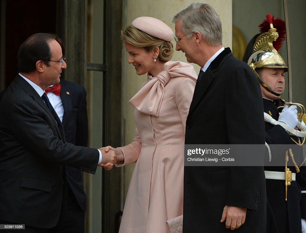 President Hollande Meets Belgian Royals - Paris : News Photo
