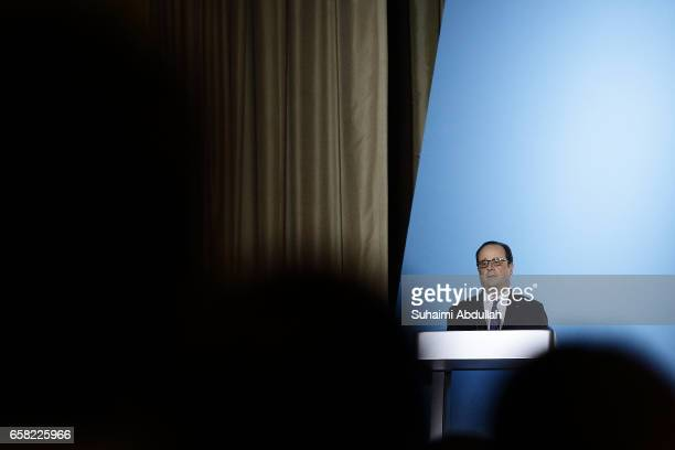 French President Francois Hollande speaks during the 40th Singapore lecture organised by ISEAS Yusof Ishak Institute titled 'France and Singapore...