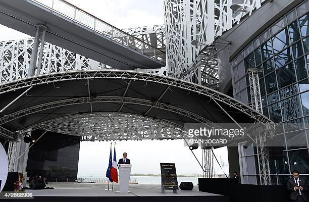 French president Francois Hollande speaks during the inauguration of the 'Memorial Act' for slavery remembrance on May 10 in PointeàPitre as part of...