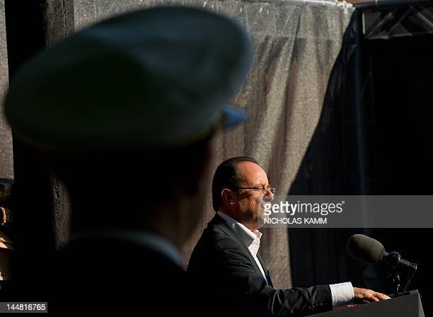 French President Francois Hollande speaks to the press after the G8 summit on May 19, 2012 at the Camp David presidential retreat in Maryland. AFP...