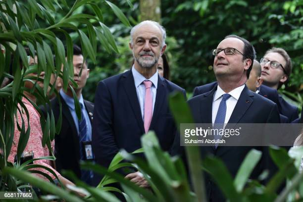 French President Francois Hollande tours the orchid garden after the orchid naming ceremony at the National Orchid Gardens on 27 March 2017 in...
