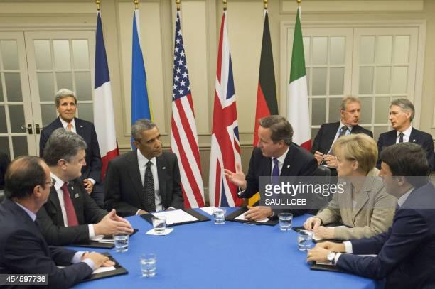 French President Francois Hollande, Ukrainian President Petro Poroshenko, US President Barack Obama, British Prime Minister David Cameron, German...