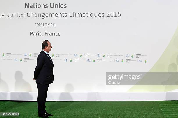 French president Francois Hollande waits prior to the arrivals for the opening of the UN conference on climate change, on November 30, 2015 at Le...