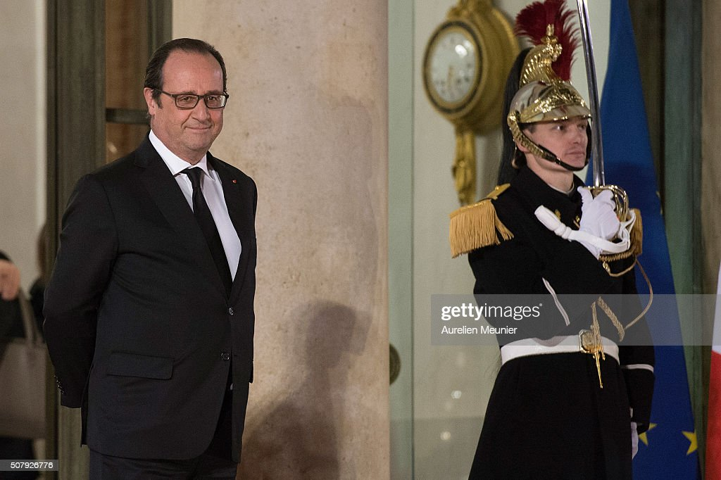 French President Francois Hollande walkes out Cuban President Raul Castro after the press conference and before the State Diner in his honor at Elysee Palace on February 1, 2016 in Paris, France. During the visit of Cuban President in Franche, around a dozen commercial, tourism and fair trade contracts were signed as France want to be the leader on the Cuban market.