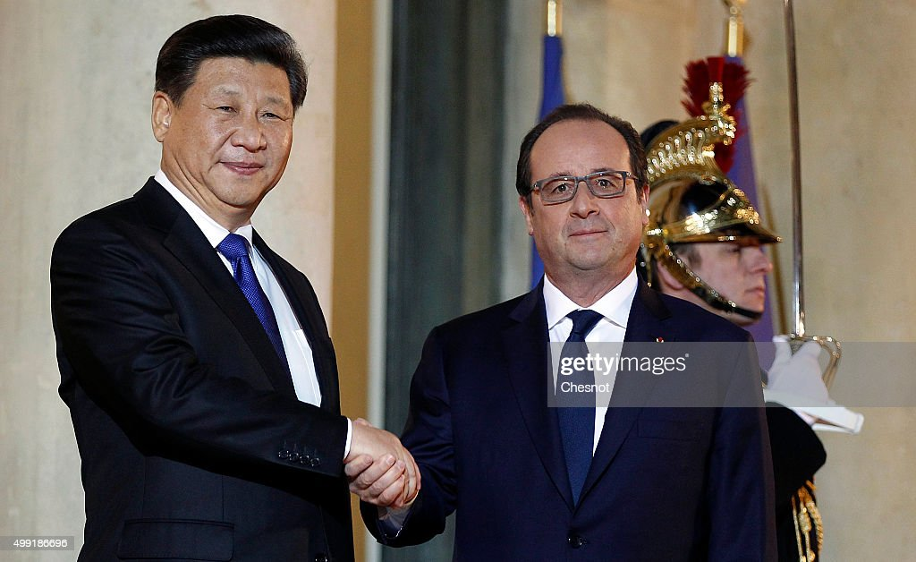 French President Francois Hollande Receives Xi Jinping, Chinese President,  At Elysee Palace