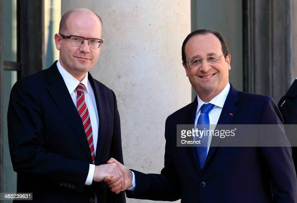 French President Francois Hollande welcomes Czech Prime Minister Bohuslav Sobotka at the Elysee Palace on March 19 in Paris, France. Bohuslav Sobotka...