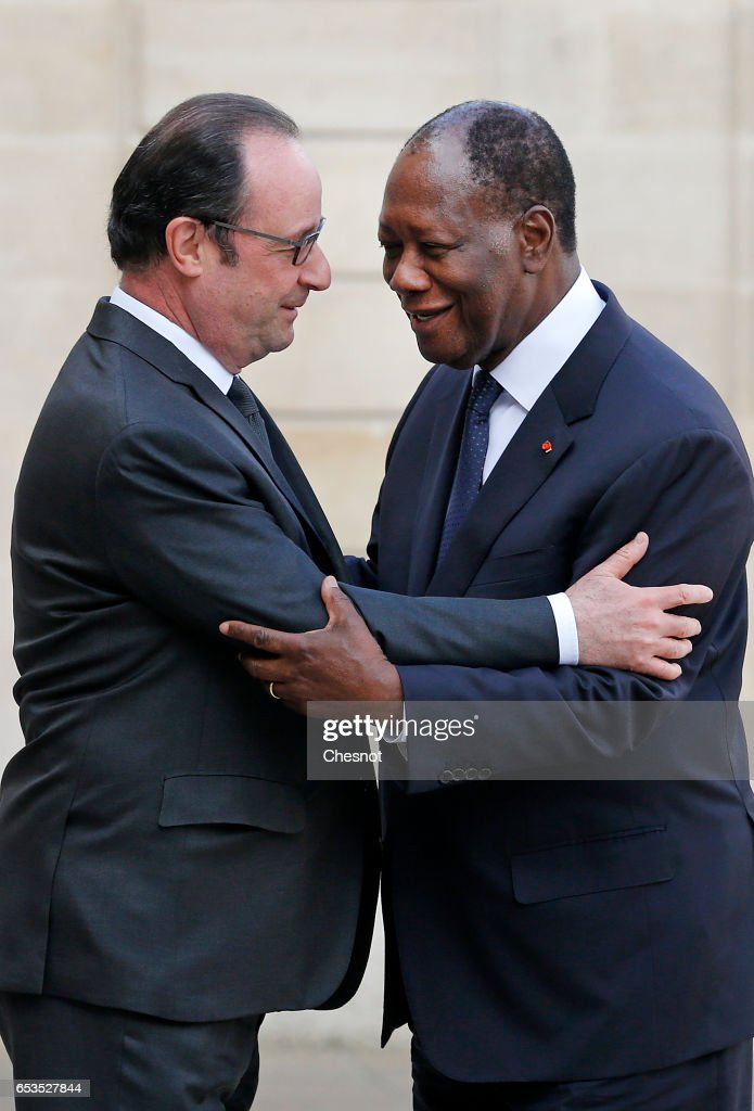 French President Francois Hollande Receives Alassane Ouattara,  President of Cote D'Ivoire At Elysee Palace In Paris