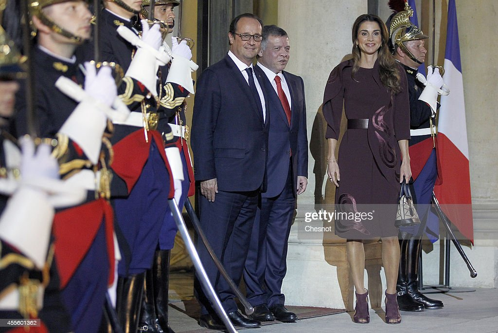French President Francois Hollande welcomes King Abdallah II of Jordan and Queen Rania Al Abdullah of Jordan prior to a working dinner at Elysee Palace on September 17 in Paris, France.
