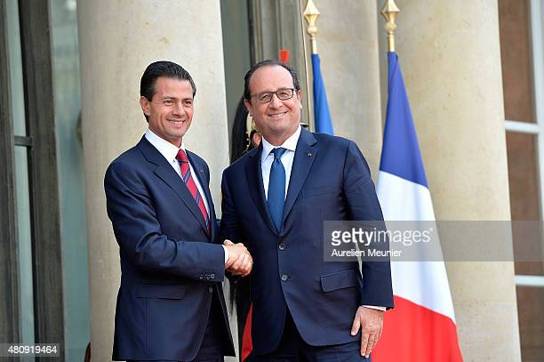 French President Francois Hollande welcomes Mexican President Enrique Pena Nieto for a strategical meeting at Elysee Palace on July 16 2015 in Paris...
