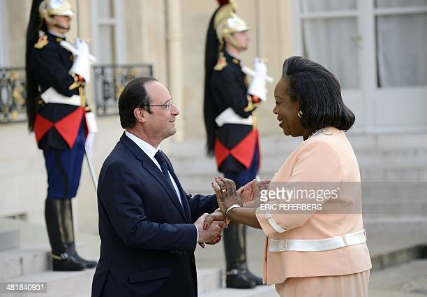 French President Francois Hollande welcomes on April 1, 2014 his Central African Republic counterpart Catherine Samba-Panza at the Elysee palace in...