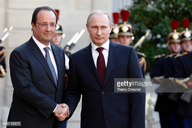 French President Francois Hollande welcomes Russian President Vladimir Putin on June 05 at the Elysee Presidential Palace in Paris France Russian...