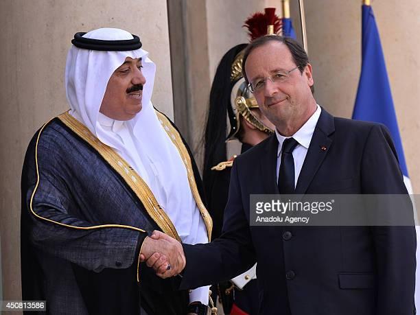 French President Francois Hollande welcomes Saudi Arabian Prince Meteb bin Abdullah bin Abdulaziz Minister of the National Guard prior to their...