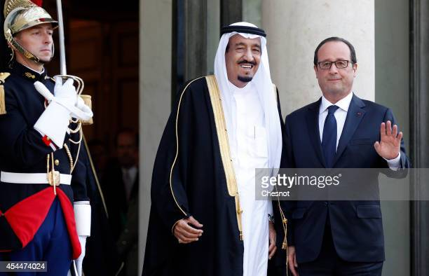 French President Francois Hollande welcomes Saudi Crown Prince Salman Bin Abdulaziz AlSaud prior their meeting at the Elysee Presidential Palace on...