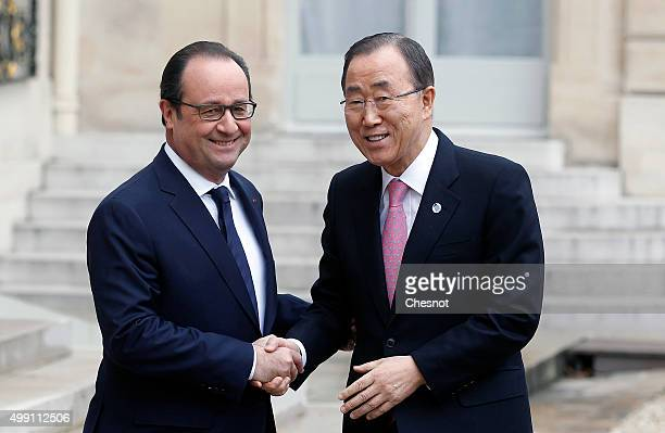 French President Francois Hollande welcomes United Nations SecretaryGeneral Ban Kimoon prior to attend a meeting at the Elysee Presidential Palace on...