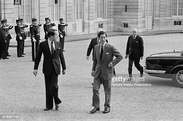 French President Francois Mitterand walking with Prince Charles of Wales during the prince's visit to the Palais de l'Elysee in Paris in 1981