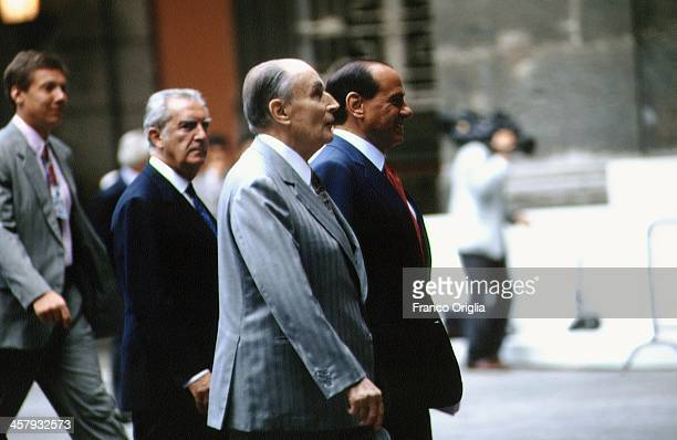 French President Francois Mitterrand and Italian Prime Minister Silvio Berlusconi during the G7 Summit at the Royal Palace of Naples Piazza del...