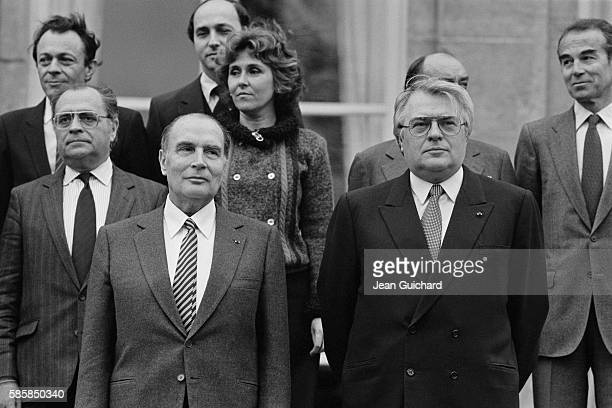 French President Francois Mitterrand and Prime Minister Pierre Mauroy during the first Council of Ministers of Mauroy's government Minister of...
