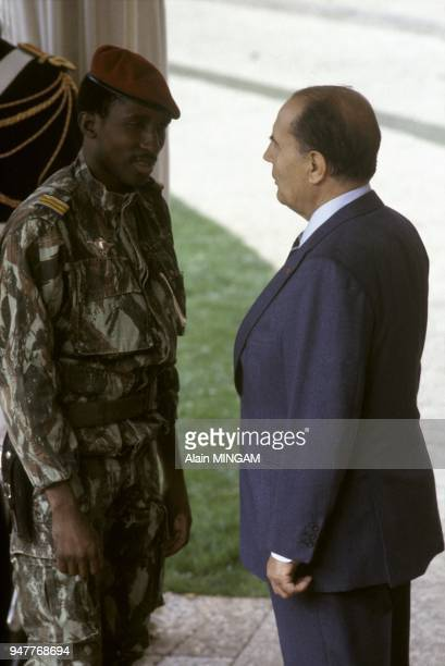 French president Francois Mitterrand and Thomas Sankara president of Burkina Faso at FranceAfrica summit in Vittel October 5 1983