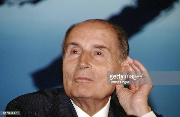 French President Francois Mitterrand attends a conference during the G7 Summit at the Royal Palace of Naples Piazza del Plebiscito on July 10 1994 in...