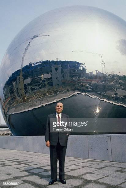 French president Francois Mitterrand attends the opening of futuristic building La Geode an IMAX theater built in Paris's Parc de la Villette The...