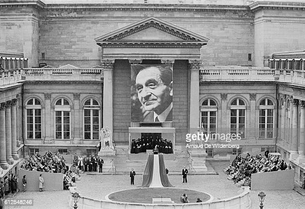 French President Francois Mitterrand delivers a speech during a ceremony paying tribute to former French Council President Pierre MendesFrance