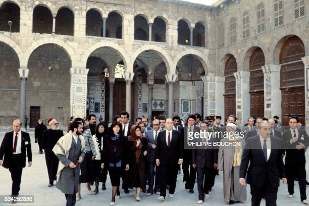 French President Francois Mitterrand his wife Danielle and Syrian official visit on November 28 1984 the Umayyad Mosque also known as the Great...