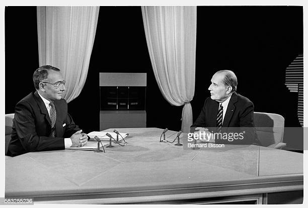 French president Francois Mitterrand is invited by news presenter Yves Mourousi on the set of TF1 television channel for the Ca nous interesse...